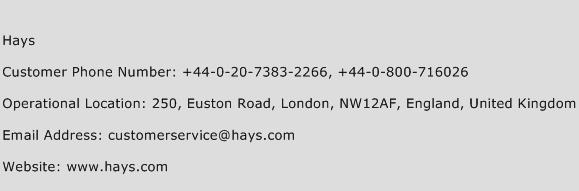 Hays Phone Number Customer Service