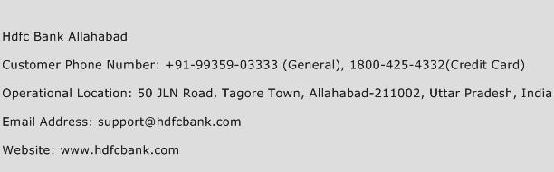 Hdfc Bank Allahabad Phone Number Customer Service