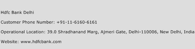 Hdfc Bank Delhi Phone Number Customer Service