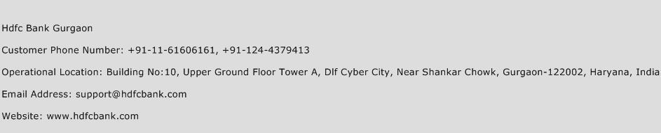 Hdfc Bank Gurgaon Phone Number Customer Service