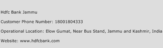 Hdfc Bank Jammu Phone Number Customer Service
