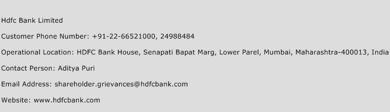 Hdfc Bank Limited Phone Number Customer Service