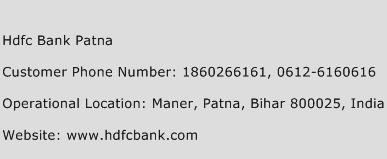 Hdfc Bank Patna Phone Number Customer Service