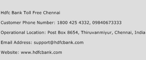 Hdfc Bank Toll Free Chennai Phone Number Customer Service
