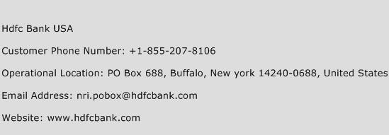 Hdfc Bank USA Phone Number Customer Service