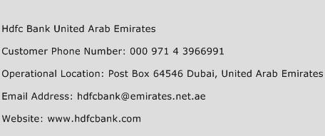 Hdfc Bank United Arab Emirates Phone Number Customer Service