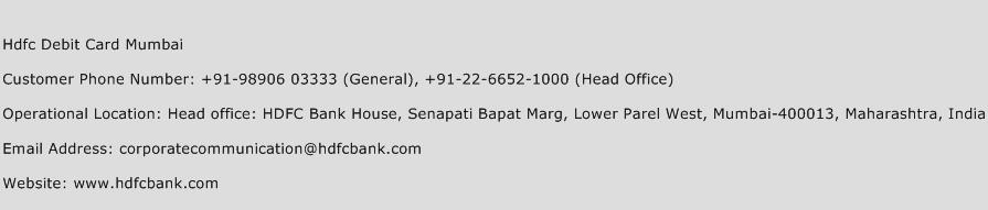 Hdfc Debit Card Mumbai Phone Number Customer Service