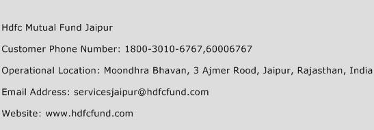 Hdfc Mutual Fund Jaipur Phone Number Customer Service