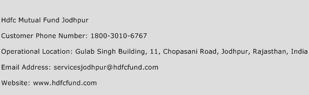 Hdfc Mutual Fund Jodhpur Phone Number Customer Service