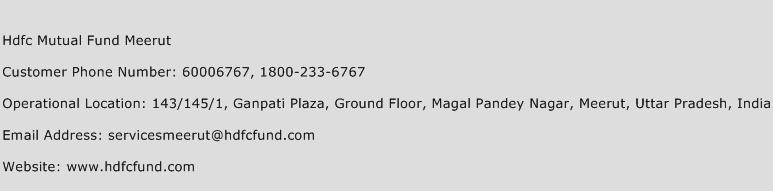 Hdfc Mutual Fund Meerut Phone Number Customer Service