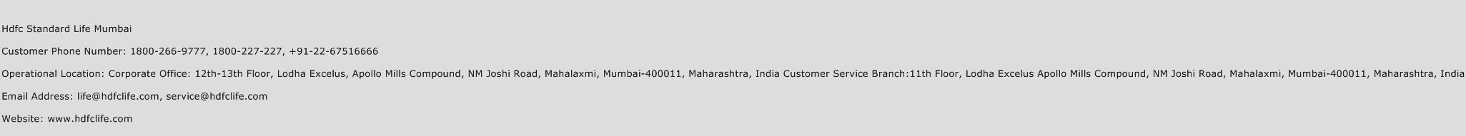 Hdfc Standard Life Mumbai Phone Number Customer Service