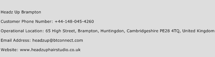 Headz Up Brampton Phone Number Customer Service