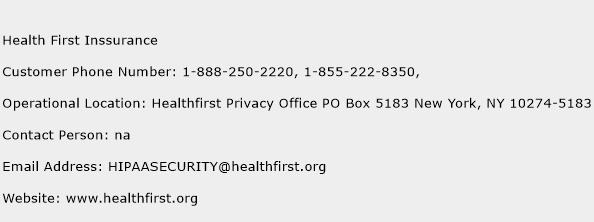 Health First Inssurance Phone Number Customer Service