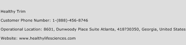 Healthy Trim Phone Number Customer Service