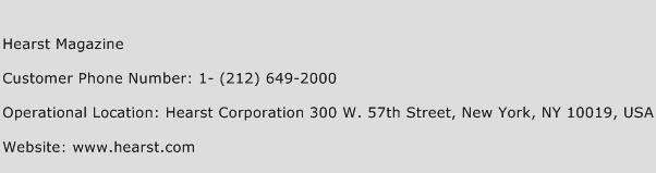 Hearst Magazine Phone Number Customer Service
