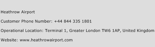 Heathrow Airport Phone Number Customer Service