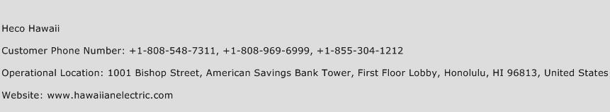 Heco Hawaii Phone Number Customer Service