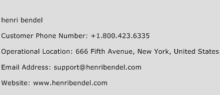 Henri Bendel Phone Number Customer Service