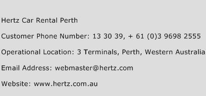 Hertz Car Rental Perth Phone Number Customer Service