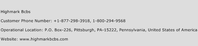 Highmark Bcbs Phone Number Customer Service