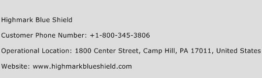 Highmark Blue Shield Phone Number Customer Service