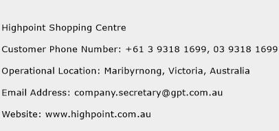 Highpoint Shopping Centre Phone Number Customer Service