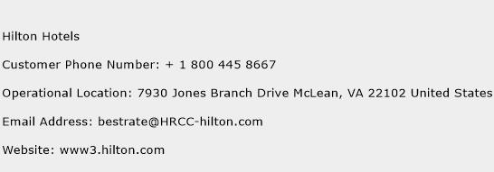 Hilton Hotels Phone Number Customer Service