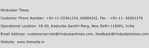 Hindustan Times Phone Number Customer Service