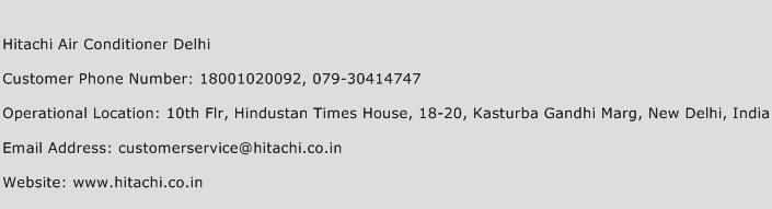 Hitachi Air Conditioner Delhi Phone Number Customer Service