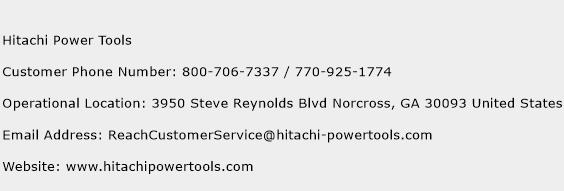 Hitachi Power Tools Phone Number Customer Service