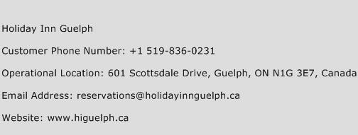 Holiday Inn Guelph Phone Number Customer Service