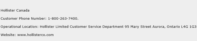 Hollister Canada Phone Number Customer Service