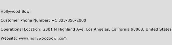 Hollywood Bowl Phone Number Customer Service