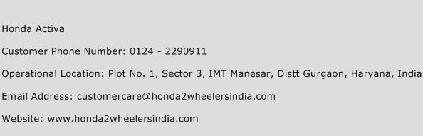 Honda Activa Phone Number Customer Service