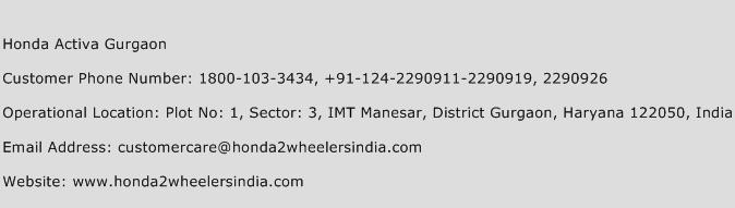 Honda Activa Gurgaon Phone Number Customer Service