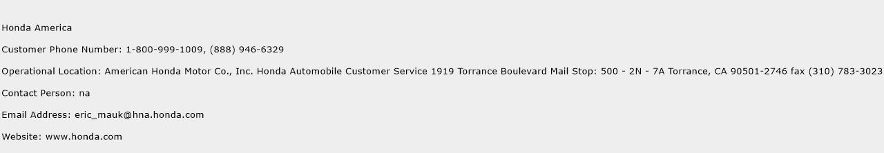 Honda America Phone Number Customer Service