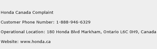 Honda Canada Complaint Phone Number Customer Service