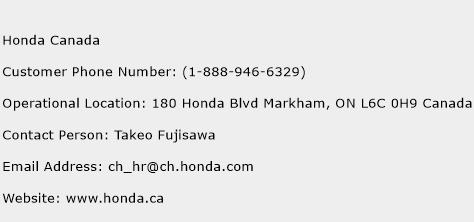 Honda Canada Phone Number Customer Service