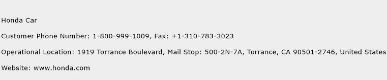 Honda Car Phone Number Customer Service