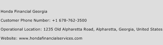 Honda Financial Georgia Phone Number Customer Service