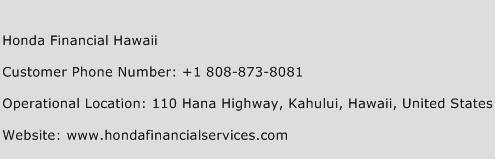 Honda Financial Hawaii Customer Service Phone Number Contact