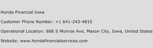 Honda Financial Iowa Phone Number Customer Service
