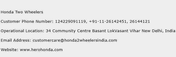 Honda Two Wheelers Phone Number Customer Service