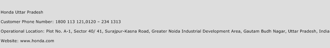Honda Uttar Pradesh Phone Number Customer Service