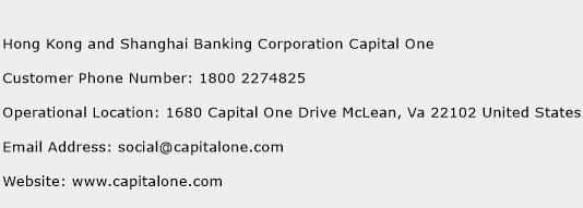 Hong Kong and Shanghai Banking Corporation Capital One Phone Number Customer Service