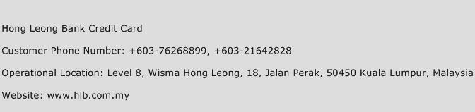 Hong Leong Bank Credit Card Phone Number Customer Service