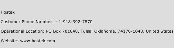 Hostek Phone Number Customer Service