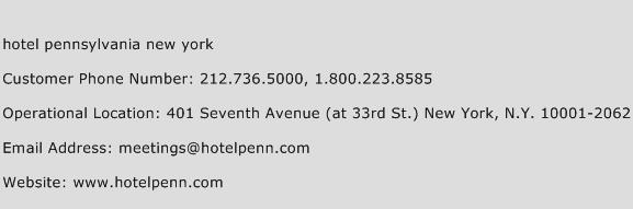 Hotel Pennsylvania New York Phone Number Customer Service