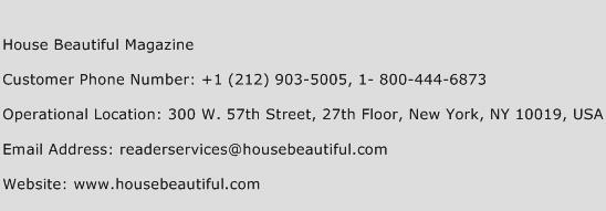 house beautiful magazine customer service phone number