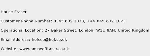 House Fraser Phone Number Customer Service